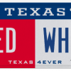 Texas License Plate - Red and White